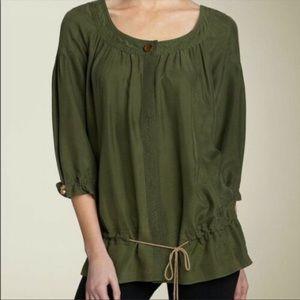 Diane Von Furstenburg Green Hori Silk button front